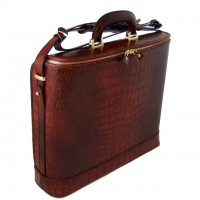 Rafaello Laptop Compatible Croco-Embossed Italian Leather Briefcase