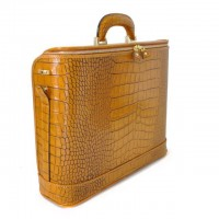 Rafaello Laptop Compatible Large Croco-Embossed Italian Leather Briefcase