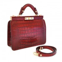Vittoria Ladies Croco-Embossed Italian Leather Handbag