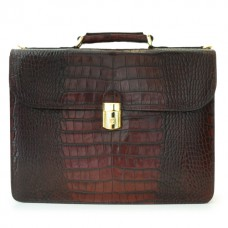 Verrocchio Croco-Embossed Italian Leather Briefcase
