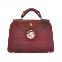 Veneziano Small Croco-Embossed Italian Leather Womans Handbag