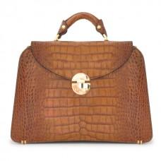 Veneziano Croco-Embossed Italian Leather Womans Handbag